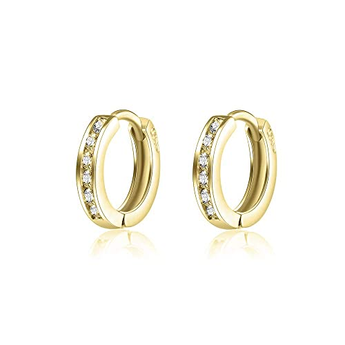 97370849d AOBOCO 925 Sterling Silver Small Gold Hoop Earrings 14k Gold Plated  Cartilage Cubic Zirconia Cuff Hoop