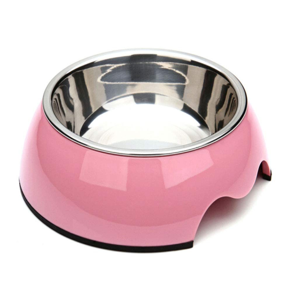 Pet Bowl, Stainless Steel and Melamine Design, Food Feeder for Puppies and Cats, Single Bowl White Very Good (color   Pink, Size   8.4  6.4  3)