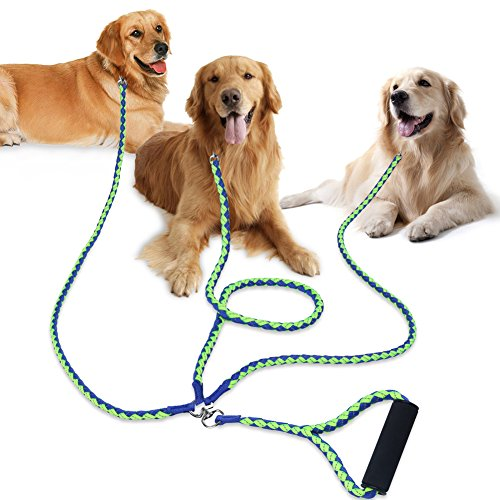 PETBABA 3 Dog Leash, 4.6ft Triple Coupler with Reflective Safety at Night, Multi Way Splitter with Soft Padded Handle to Protect Hands, Multiple Lead Walk Three Pet in Green-Blue