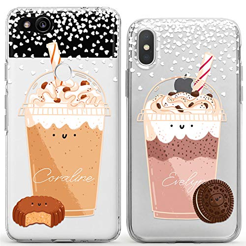 Wonder Wild Cute Milkshake Couple Case iPhone Xs Max X Xr 10 8 Plus 7 6s 6 SE 5s 5 TPU Clear Gift Apple Phone Cover Print Protective Double Pack Silicone Coffee Marshmallow Pair Matching Hearts Cup -