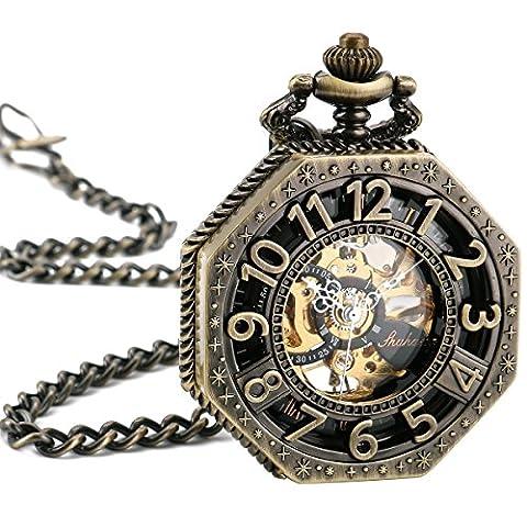 WENSHIDA Roman Old Railroad Style Bronze Octagon Antique Mechanical Skeleton Pocket Watch With (Men Antique Watch)
