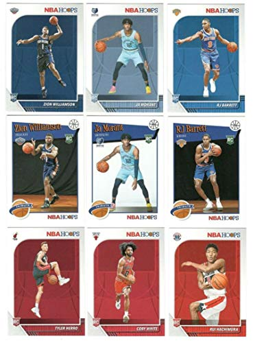2019-20 NBA Hoops Complete Basketball Hand Collated Near Mint to Mint Condition Set of 300 Cards made by Panini with Rookie Cards of Zion Williamson (2 different), JA Morant (2 Different), RJ Barnett, Tyler Herro, Grant Williams and stars such as LeBron James, Kyrie Irving, Stephen Curry, James Harden and many more FREE SHIPPING TO THE USA from Base Set