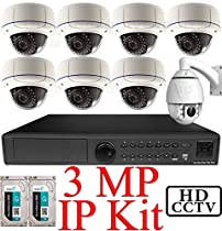 USG 3MP IP PTZ CCTV Kit: 1x 16Ch @ 3MP NVR + 1x 1080P IP PTZ 4.7-47mm Speed Dome Camera + 7x 3MP IP PoE 2.8-12mm Dome Cameras + 2x 3TB (6TB) HDD *** Ultra High Definition Video Surveillance For Your Home or Business!
