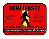 JS Artworks New Jersey Sasquatch Hunting Permit License Bigfoot Vinyl Sticker Decal