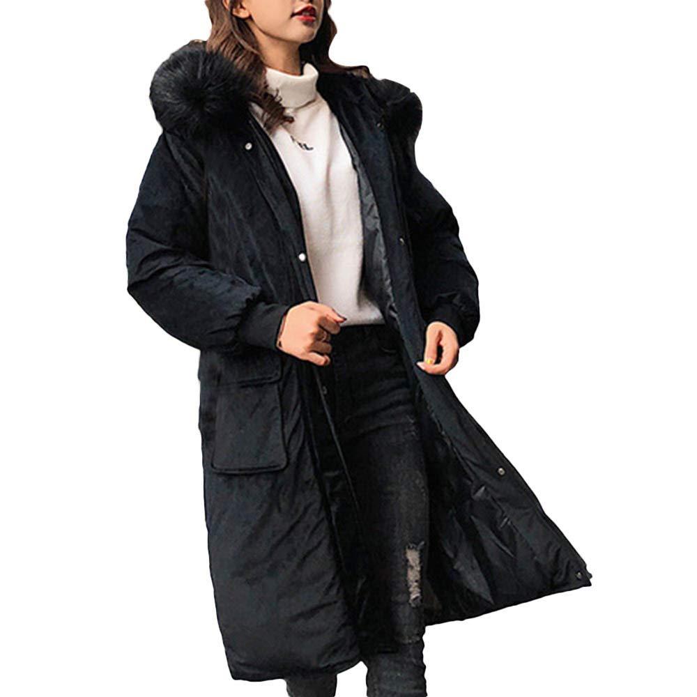 Noir EU-42(CN-XXL) Femme Manteau Boutonné à Capuche Vestes Longues et Solides Manteaux de Poche
