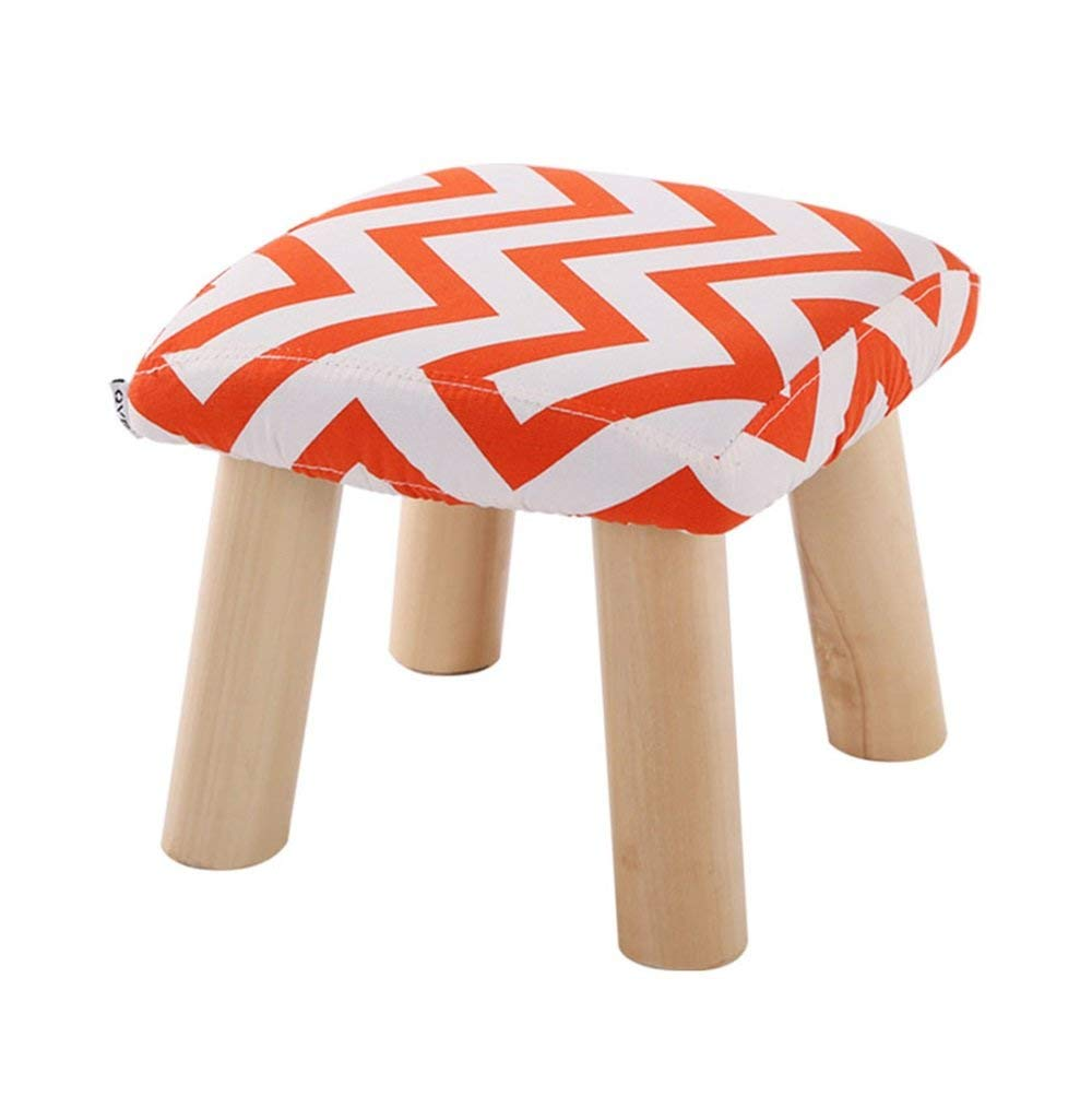 Footstool Solid Wood Shoes Stool 4 Legs Square Upholstered Footstool Sofa Low Stool Footrest Orange Stripe Premium Quality Comfortable 29x29x25cm