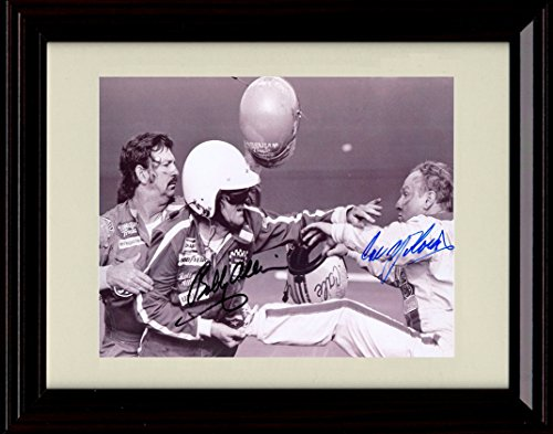 Framed Bobby Allison / Cale Yarborough Fight Autograph Replica Print - Fight at the Daytona 500