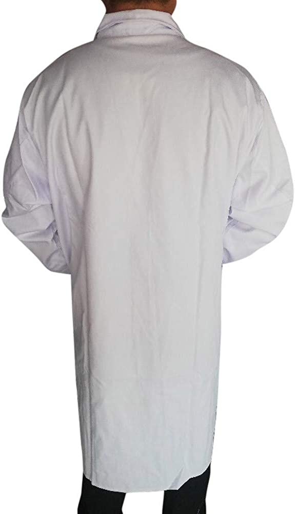 Rakkiss Lab Coat Unisex White Loose Long Sleeve Button Overcoat Work Clothes with Pocket
