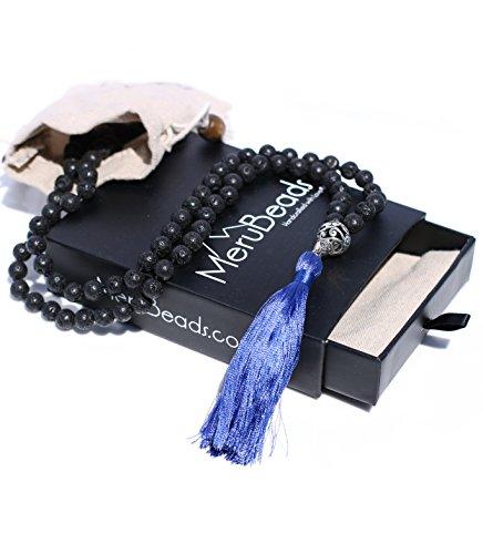 (Blue Tassel Lava Rock Mala Beads Necklace - Buddhist Prayer Beads for Meditation - Mala Bracelet - Yoga Jewelry - MalaBeads Necklace - Mala Beads Lava Stone - Mala Beads with Lava Beads)