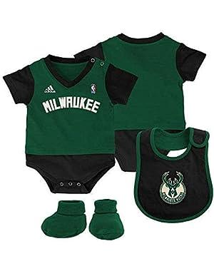 Baby adidas Milwaukee Bucks Lil' Jersey Bodysuit, Bib & Bootie Set