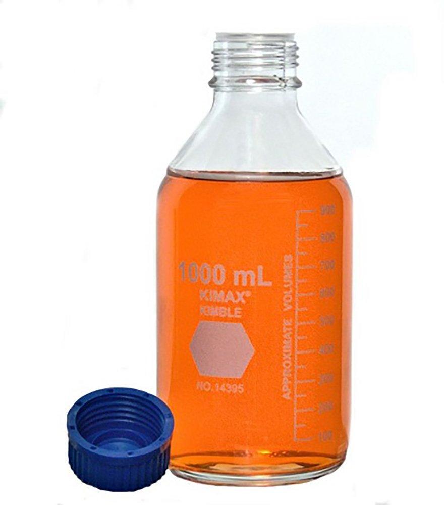 Kimble 14395-2000 Borosilicate Glass GL-45 Media/Storage Bottle With Blue Polypropylene Screw Thread Cap, 2000mL (Case of 4)