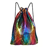 Alritz Mermaid Sequin Drawstring Bag, Reversible Sequins Backpack Glittering Outdoor Shoulder Bags Girls Boys Women (Colorful)