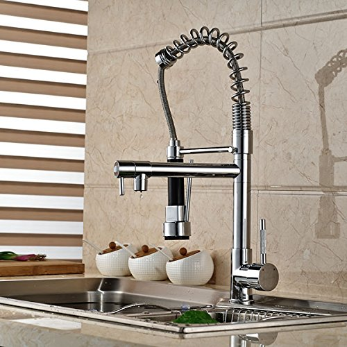 Senlesen Chrome Pull Out Down Spray Deck Mount Kitchen Torneira Cozinha Tap Mixer Cock Faucet with Hot and Cold Water by Senlesen (Image #1)