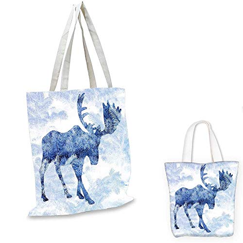 Moose canvas messenger bag Blue Pattern Pine Needles Spruce Tree with Antlers Deer Family Snow Winter Horns canvas beach bag Blue White. 16