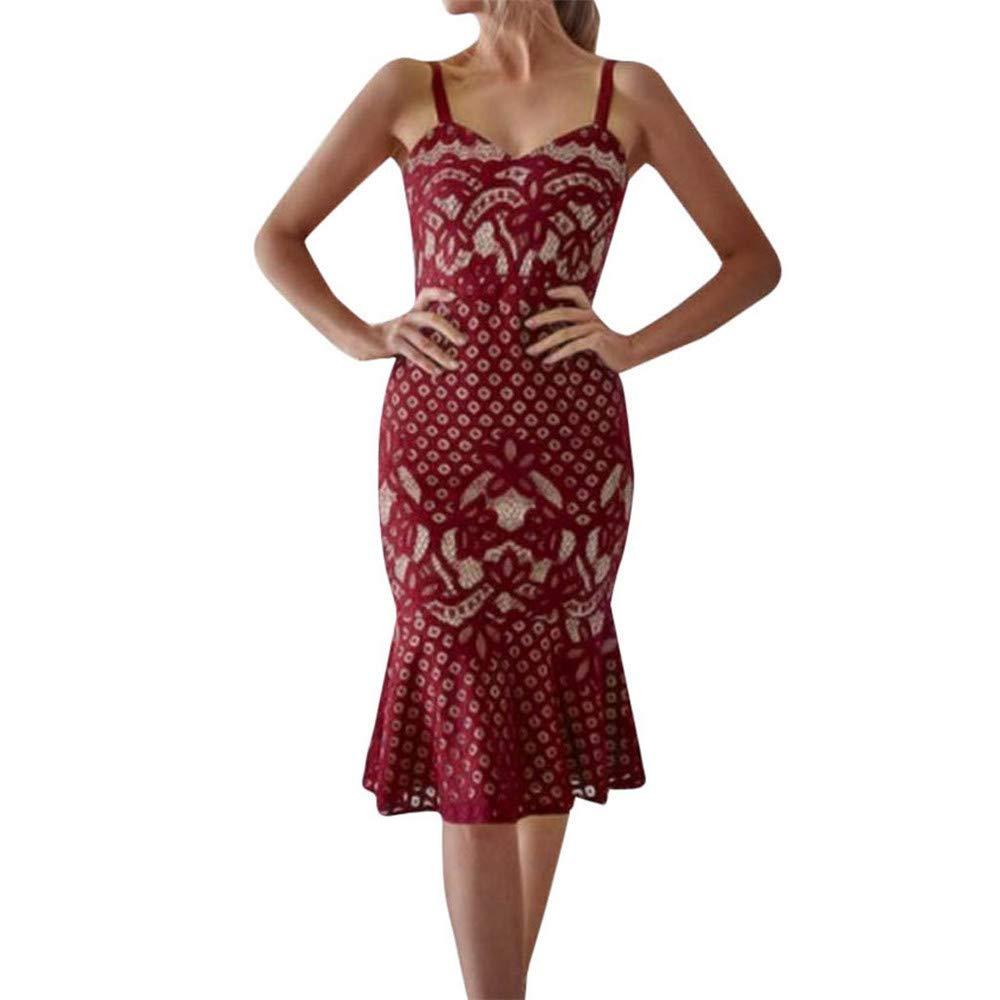 Vickyleb Women Dress Sexy Sleeveless Strap Dress Lace Flare Fishtail Sheath Party Dresses for Elegant Women Gown Dress Red