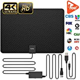 Updated 2019 Version Professional Carbon Fibre 120+ Miles TV Antenna, Indoor TV Digital HD Antenna 4K HD Freeview Life Local Channels All Type Television Switch Amplifier Signal Booster