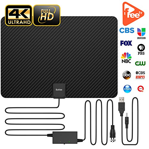 Updated 2019 Version Professional Carbon Fibre 120+ Miles TV Antenna, Indoor TV Digital HD Antenna 4K HD Freeview Life Local Channels All Type Television Switch Amplifier Signal ()