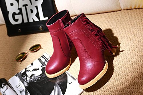 ankle NSXZ boots boots women's 120W Chunky heels leather fringed RED with 445FxqUr0