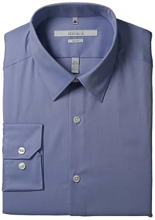 Perry Ellis Men's Portfolio Two Color Twill Dress Shirt, Blue Dust, 15.5 34/35