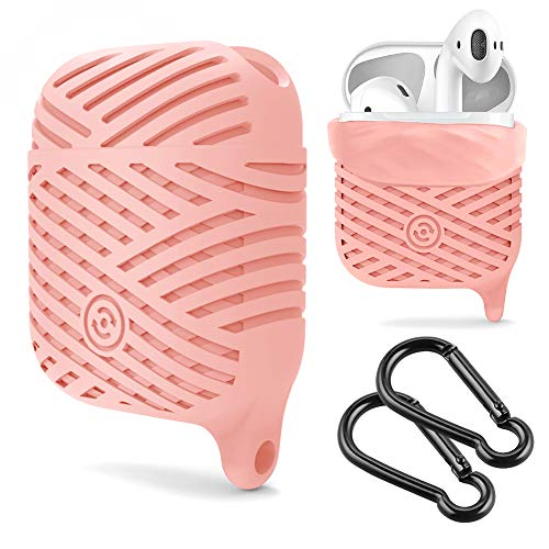 Compatible AirPods Case, NaHai Soft Silicone Case Water Resistant Shock Proof Protective Cover for AirPods Charging Case Pink
