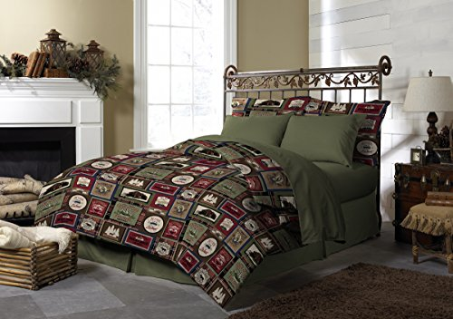 - Pine Creek Lodge Comforter Set Including Shams - Premium Luxury Bed Spread, Rustic Southwestern Style Perfect for Hunters, Cabins and Lodges (Forest Lodge, Twin)