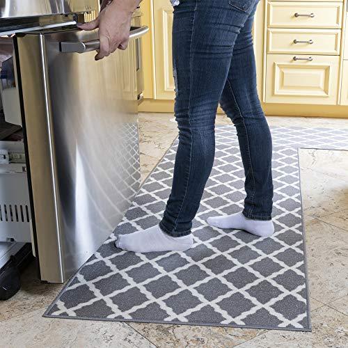 Ottomanson Glamour Collection Contemporary Moroccan Trellis Design Kids Lattice Area Rug (Non-Slip) Kitchen and Bathroom Mat Rug, 26