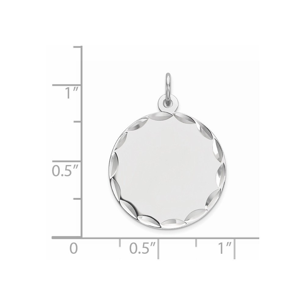 Snake or Ball Chain Necklace Sterling Silver Plated Finish Engravable Round Polished Disc Charm on a Sterling Silver Cable