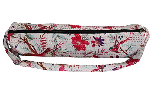Yoga Mat Bag Handmade in India – Adjustable Strap, Zipper, Interior Pocket, Durable. Stylish Printed Exercise Mat Bag, Beach Mat Bag, Yoga Bag (2 Colo…