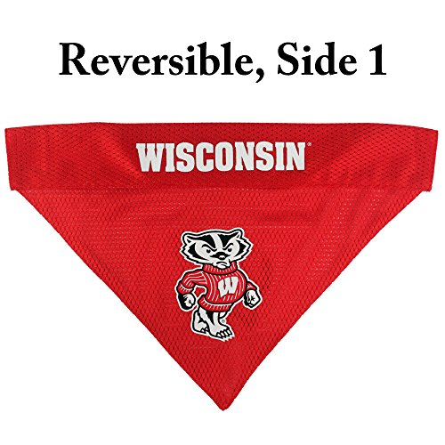 Image of Pets First Collegiate Pet Accessories, Reversible Bandana, Wisconsin Badgers, Small/Medium