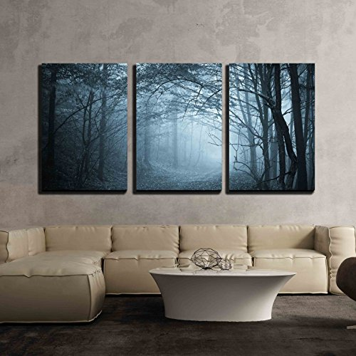 "wall26 - 3 Piece Canvas Wall Art - Blue Light in a Mysterious Forest with Fog - Modern Home Decor Stretched and Framed Ready to Hang - 24""x36""x3 Panels"