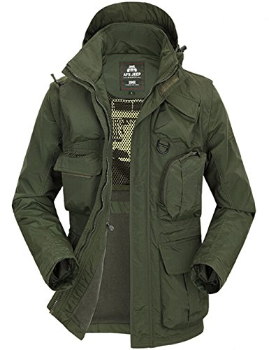 Gurteen Men's Winter Military Style Hoodie Casual Multi Pockets Outdoor Waterproof Jackets (US S(Tag L), army green)