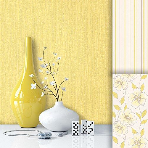 Tapete Edel Vlies Uni Gelb | schönes Design und purer Luxus Effekt | moderne Natur-Optik für Wohnzimmer,Schlafzimmer,Flur oder Küche inkl. NewroomTapezier-Profibroschüre mit super Tipps!
