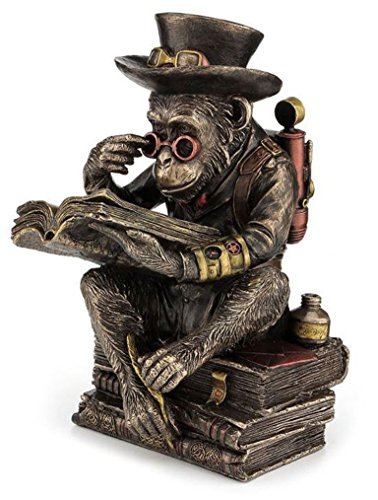 "7.75"" Steampunk Chimpanzee Scholar Gothic Home Decor Statue Sculpture Figure"