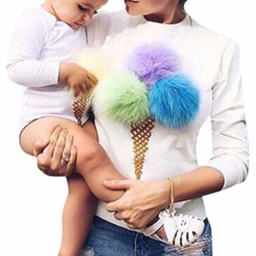 QIYUN.Z Las Mujeres Con Estilo Suéter De Cuello Redondo De Manga Larga De La Prendas De Vestir Tapas De color blanco cremoso con multicolor de la bola