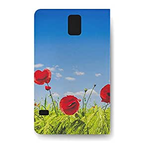 Leather Folio Phone Case For Samsung Galaxy S5 Leather Folio - Red Poppies Field Leather Designer by lolosakes