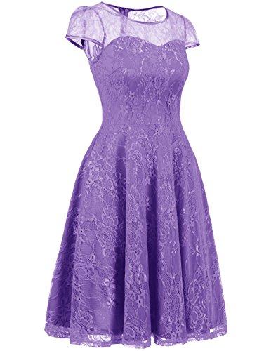 DRESSTELLS Women's Bridesmaid Dress Retro Lace Swing Party Dresses with Cap-Sleeves Purple S by DRESSTELLS (Image #1)