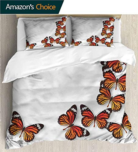 VROSELV-HOME Kids Quilt 3 Piece Bedding Set,Box Stitched,Soft,Breathable,Hypoallergenic,Fade Resistant Bedding Sets,1 Duvet Cover,2 Pillowcase-Butterflies Spring Monarch Bug (104