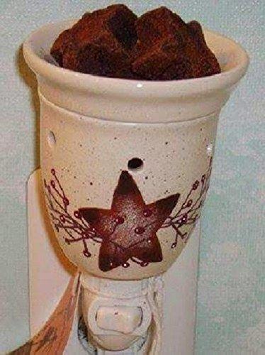 Primitive Country Decor Hand Painted Rusty Tin Star Stoneware Electric Wax Tart Warmer Night Light