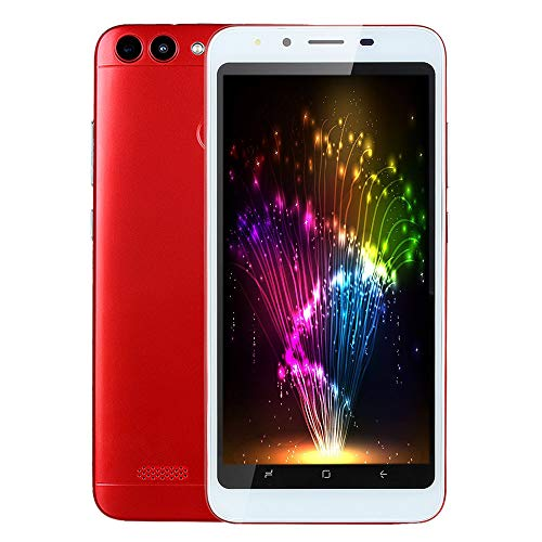 Choosebuy Unlocked Cell Phones, 5.0 inch Dual SIM Dual LED Flash HD Camera Smartphone Android 4.4 Bluetooth WiFi Dual Core 3G GPS Call Mobile Phone 512MB+4G (Red)