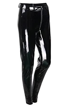 833f2718e1aa Sorrica Women s Sexy Shiny Faux Leather Gothic Punk Wet Look Legging Pants Front  Zipper (US