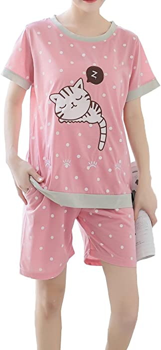 f9dc409c36a3 MyFav Young Girls Pyjama Cute Cat Pattern Nighty Comfy Shorts Cotton  Sleepwear  Amazon.co.uk  Clothing