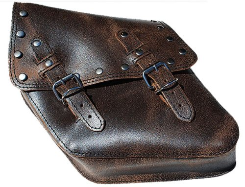 La Rosa Harley-Davidson Dyna Wide Glide FXR Rustic Brown Leather Rivet Saddle Bag