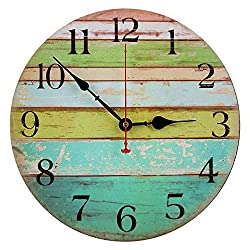 RELIAN Decorative Wall Clock, 13.5 Inch Beach Silent Non Ticking Wall Clock Battery Operated for Ocean Nautical Theme Living Room Home Decor