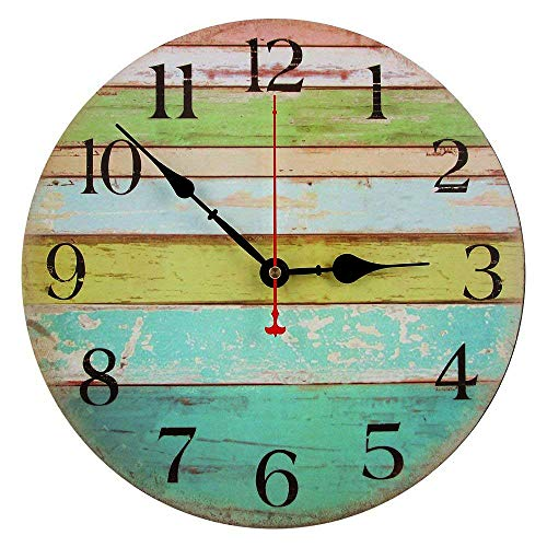 - RELIAN 13.5 Inch Rustic Beach Wall Clock, Silent Non Ticking Large Wall Clock, Batter Operated, Vintage Shabby Beachy Ocean Paint Boards, Home Decoration Wall Clock for Ocean Nautical Living Room