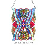 HF-300 Tiffany Style Stained Glass Creative Colorful Window Hanging Glass Panel Sun Catcher, 24''Hx18''W