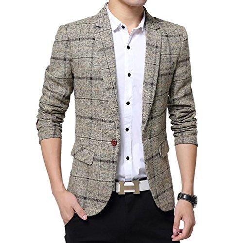 Brown Plaid Blazer Jacket - SITENG Men's Tweed Plaid Blazer Jacket Casual Business Long Sleeve One Button Slim Fit Suits Single-breast Sport Coat Outwear(Khaki US L)
