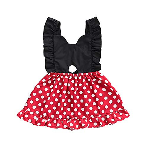 (Little Baby Girl Sleeveless Polka Dot Ruffle Dresses Backless Swing Mini Strap Sundress Summer Skater Overall Dress (2-3 Years,)
