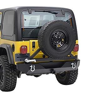 Paramount Restyling YJ TJ Jeep Wrangler Black Heavy Duty Rear Bumper with Tire Carrier TJ YJ