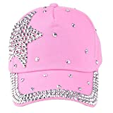 Tanhangguan Crystal Diamond Hat - New Fashion Baseball Cap Rhinestone Star Shaped Boys Girls Snapback Hat (Pink)