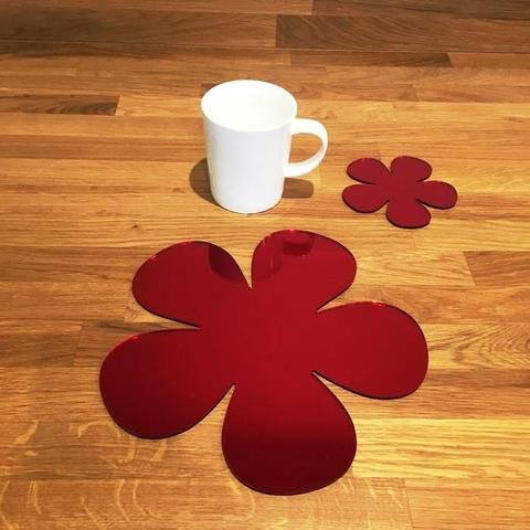 Placemat and Coaster Set - Daisy - Red Mirror - Set of 6 by Super Cool Creations